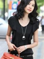 เสื้อทำงานแขนสั้นสีดำและสีขาว