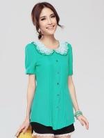 เสื้อชีฟอง ปกบัวซ้อน สีเขียวอมฟ้า XL 3XL 4XL