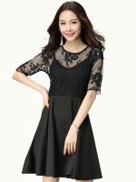 ชุดเดรสผ้าลูกไม้สีดำไซส์ใหญ่สไตล์เกาหลี แขนสั้น (XL,2XL,3XL,4XL)
