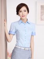 เสื้อเชิ้ตทำงานแขนสั้น สีฟ้า พร้อมโบว์สีฟ้า