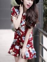 พร้อมส่งแฟชั่นเกาหลี:เสื้อยาวน่ารักลายดอก ปลายต่อระบาย