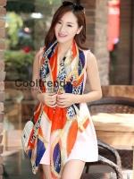ผ้าพันคอแฟชั่นลายโซ่ Chiffon Chain : สีส้ม : ผ้าพันคอ Silk Chiffon - size 170*70 cm