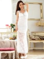 ชุดราตรียาวสีขาวไซส์ใหญ่ ผ้าลูกไม้เซ็กซี่ (F,XL,2XL,3XL)