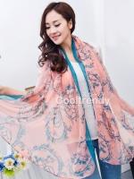 ผ้าพันคอแฟชั่น ลาย Graphic H สีชมพู ผ้า viscose size 170x70 cm