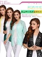 เสื้อคลุมผ้าลูกไม้ลายสวย แขนสามส่วน เสื้อคลุมป้องกันแสงยูวี สีเขียวอ่อน/สีเขียว/สีเหลือง (2XL,3XL,4XL)
