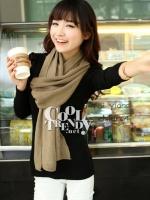 ผ้าพันคอไหมพรม ผ้า cashmere scarf size 220*30 cm -  สี coffee