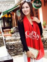 ผ้าพันคอแฟชั่น Candy Color - ผ้าชีฟอง 150x45 cm - สีแดง