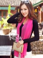ผ้าพันคอแฟชั่น Candy Color - ผ้าชีฟอง 150x45 cm - สีชมพูเข้ม
