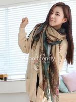 ผ้าพันคอลายรถม้า Carriage scarf : สีน้ำตาลอ่อน - ผ้า viscose - 170x70 cm
