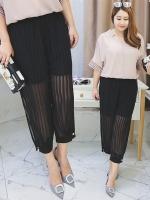 กางเกงชีฟองทรงฮาเร็มขา 9 ส่วนไซส์ใหญ่ เอวยางยืด สีดำ (XL,2XL)