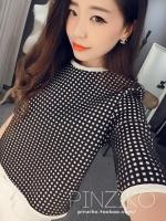 พร้อมส่งแฟชั่นเกาหลี:เสื้อเก๋ลายตารางสี่เหลี่ยม