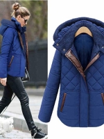 เสื้อกันหนาวแบบหนาบุนวม พร้อมฮู้ด สีดำ,สีน้ำเงิน XL 2XL 3XL 4XL 5XL