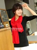 ผ้าพันคอไหมพรม ผ้า cashmere scarf size 220*30 cm - สี red