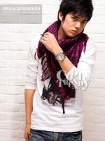 ผ้าพันคอผู้ชาย Man scarf ผ้าพันคอชีมัค Shemagh : สีชมพู size 100 x 100 cm