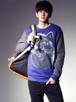 เสื้อคอกลมแขนยาวสกรีนลายหมาป่าแขนเสื้อเล่นลายกราฟิกสุดเท่ของแท้จากเกาหลี