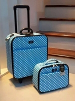 """พร้อมส่ง / กระเป๋าใส่เสื้อผ้า ขนาด 18""""/12"""" วัสดุผ้าเคลือบpvc โครงแข็ง กันน้ำ ใช้ง่าย ซิปรอบ ล็อครหัสสามหลัก 2 ล้อ (ระบุลายที่ต้องการ)"""