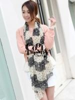 ผ้าพันคอลายลูกไม้ Retro Scarf : white color - ผ้าชีฟอง Chiffon - size 160*70 cm