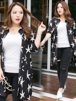 เสื้อคลุมชีฟองยาวสีดำพิมพ์ลายดาว ปกเชิ้ต แขนสามส่วน (XL,2XL,3XL)