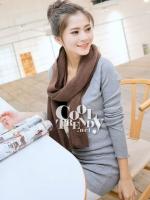 ผ้าพันคอไหมพรม ผ้า cashmere scarf size 220*30 cm - สี cocoa