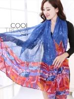 ผ้าพันคอลาย Painting Scarf : สีน้ำเงิน - ผ้า Viscose - size 180 x 80 cm