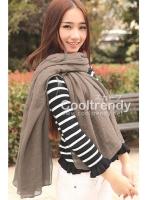 ผ้าพันคอสีพื้น Pastel scarf : สี Sepia ผ้า viscose size 240 x 170 cm