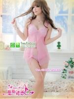 ชุดนอนซีทรูผ้าซีทรูสีชมพูผ่าหน้าแบบสวยมาแรงค่ะ