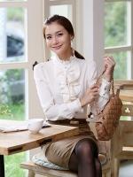 เสื้อทำงานสาวออฟฟิศ มีระบายหน้า สีขาว