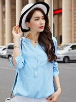 เสื้อทีเชิ้ตแขนยาวไซส์ใหญ่สไตล์เกาหลี สีฟ้า (3XL,4XL)