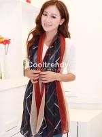ผ้าพันคอลายทาง Strip Zigzag scarf : ผ้าพันคอ Viscose - size 180*80 cm - สีน้ำเงินแดง