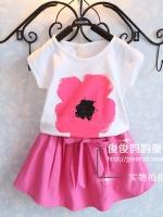 ชุด 2 ชิ้น เสื้อลายดอกไม้ + กระโปรงสีชมพูหวานเย็น