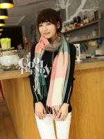 ผ้าพันคอ ผ้าคลุมพัชมีนา Pashmina scarf ลายตาราง size 200*70 cm - สี Light Pink
