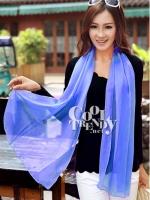 ผ้าพันคอแฟชั่น Candy Color - ผ้าชีฟอง 150x45 cm - สีน้ำเงิน