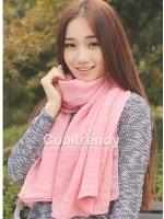 ผ้าพันคอสีพื้น Pastel scarf : สี Coral Pink ผ้า viscose size 240 x 170 cm