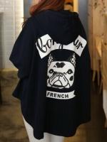 พร้อมส่งแฟชั่นเกาหลี:เสื้อคลุมเก๋ทรงหลวม ด้านหลังสกรีนหน้าหมา