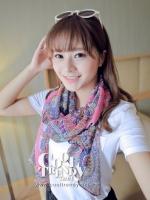 ผ้าพันคอแฟชั่น Chiffon Vintage : สีชมพู