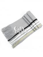 ผ้าพันคอไหมพรมลายทาง wool scarf 180x25 cm - สี light gray