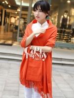 ผ้าพันคอ ผ้าคลุมพัชมีนา Pashmina scarf size 160*60 cm - สีส้ม