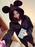 พร้อมส่งแฟชั่นเกาหลี:เสื้อหมวกใส่คลุมน่ารัก ต่อมีหู2หู