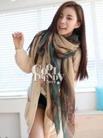 ผ้าพันคอลายรถม้า Carriage scarf : สีน้ำตาลอ่อน - ผ้าพันคอ Cotton - 180x80 cm