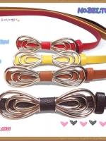 [มี4สี] แบบสไตล์คาวาอิ BELT6031 เข็มขัดเส้นเล็กสีสดใสแต่งเติมชุดให้มีสีสัน หัวเข็มขัดเป็นรูปโบ สไตล์แบรนด์ดัง