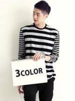 เสื้อผู้ชายคอกลมแขนยาวลายขวางนำเข้าจากเกาหลีแท้มี3สีฟรีไซส์