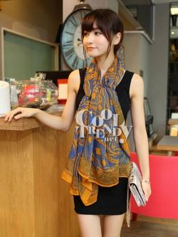 ผ้าพันคอลายลูกน้ำ Paisley Pattern : สีน้ำเงินส้ม - ผ้าพันคอ Cotton - 180x80 cm