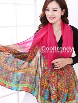 ผ้าพันคอลาย Morocco Style : สีชมพู - ผ้า viscose 180x90 cm