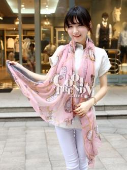 ผ้าพันคอลายนาฬิกา Clock pattern scarf : สีชมพู : ผ้าพันคอ Cotton - size 170x80 cm