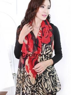 ผ้าพันคอแฟชั่นลายกุหลาบ Rose scarf : สีแดง ผ้า viscose size 180x90 cm