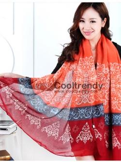 ผ้าพันคอลายเรอนาซองส์ Renaissance style : สีส้ม - ผ้า viscose 180x90 cm