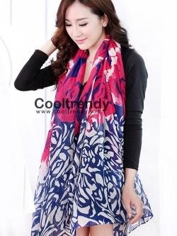 ผ้าพันคอแฟชั่นลายกุหลาบ Rose scarf : สีชมพู ผ้า viscose size 180x90 cm