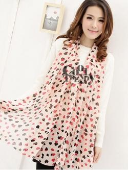 ผ้าพันคอแฟชั่นลายหัวใจ SARA : Little Heart - ผ้าพันคอชีฟอง size 170*70