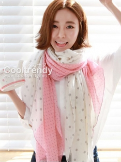 ผ้าพันคอลายจุด สีขาวชมพู ผ้าพันคอ viscose - size 160x80 cm