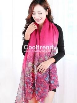ผ้าพันคอลายทุ่งดอกไม้ Flower Garden : สีชมพู ผ้า Viscose size 180x90 cm